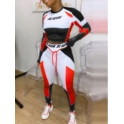Lovely Sportswear O Neck Print Patchwork Red Two Piece Pants Set