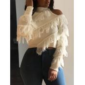 lovely Stylish Turtleneck Hollow-out Tassel Design Beige Sweater