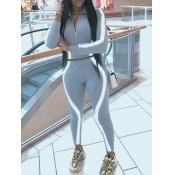 Lovely Sportswear Patchwork Zipper Design Grey Two Piece Pants Set