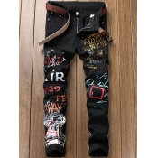 Lovely Street Letter Print Black Men Jeans