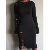 lovely Sexy O Neck Broken Holes Black Knee Length Dress