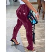 lovely Stylish Heap Skinny Wine Red Pants