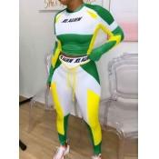Lovely Sportswear O Neck Print Patchwork Green Two Piece Pants Set
