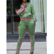 Lovely Sportswear Patchwork Zipper Design Green Tw