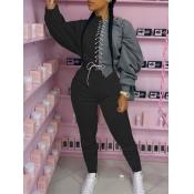Lovely Sportswear Bandage Design Patchwork Black Two Piece Pants Set