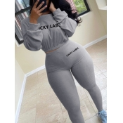 Lovely Sportswear O Neck Letter Print Grey Two Piece Pants Set