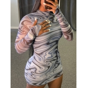lovely Casual Striped Print Skinny Grey Mini Dress