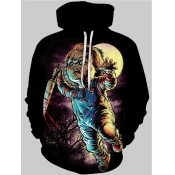lovely Street Hooded Collar Print Black Men Hoodie