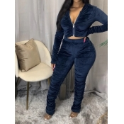 Lovely Trendy Fold Design Zipper Design Deep Blue Two Piece Pants Set