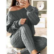 Lovely Casual O Neck Striped Grey Two Piece Pants Set