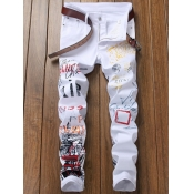 Lovely Trendy Print White Men Jeans