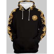 lovely Trendy Hooded Collar Print Black Men Hoodie