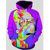 lovely Casual Hooded Collar Cartoon Print Multicolor Men Hoodie