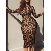 Lovely Casual O Neck Leopard Print Knee Length Plu