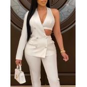 lovely Sexy One Shoulder Asymmetrical White Blazer