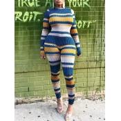 Lovely Stylish O Neck Striped Blue One-piece Jumpsuit