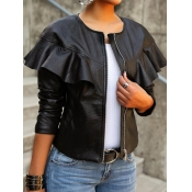 lovely Stylish Flounce Zipper Design Black Leather
