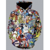 Lovely Street Hooded Collar Cartoon Print Multicol