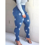 lovely Casual Pentagram Print Baby Blue Jeans