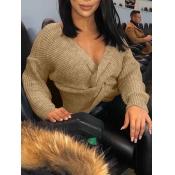 Lovely Stylish V Neck Knot Design Apricot Sweater