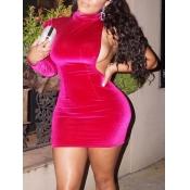 Lovely Stylish Turtleneck One Shoulder Rose Mini Dress