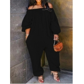 Lovely Leisure Loose Black Plus Size One-piece Jumpsuit