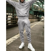 Lovely Casual Hooded Collar Basic Grey Men Two-piece Pants Set
