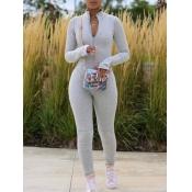 Lovely Sportswear Zipper Design Skinny Grey One-piece Jumpsuit