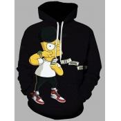 lovely Casual Hooded Collar Cartoon Print Black Men Hoodie