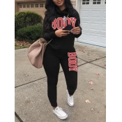 lovely Casual Hooded Collar Letter Print Black Two Piece Pants Set