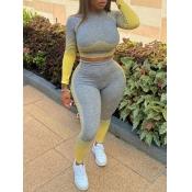 Lovely Sportswear O Neck Patchwork Yellow Plus Siz