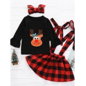 lovely Trendy O Neck Grid Print Black And Red Girl Two-piece Skirt Set