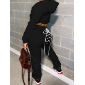 lovely Sportswear Hooded Collar Bandage Design Black Two Piece Pants Set