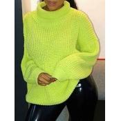 lovely Stylish Turtleneck Loose Lemon Yellow Sweater