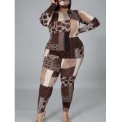 Lovely Stylish O Neck Print Brown Plus Size Two-piece Pants Set