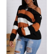 Lovely Casual Striped Patchwork Croci Sweater