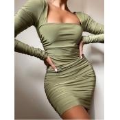 lovely Trendy Square Collar Fold Design Green Mini