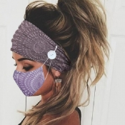 lovely Print Purple Face Mask(With Headband)