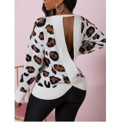 Lovely Trendy Backless Leopard Print Sweater
