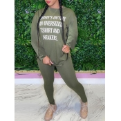 lovely Casual O Neck Letter Print Green Two Piece Pants Set