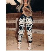 Lovely Stylish U Neck Print Black Two Piece Pants Set