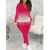 Lovely Casual O Neck Gradient Print Rose Red Plus Size Two-piece Pants Set
