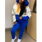Lovely Stylish Hooded Collar Patchwork Blue Two Piece Pants Set