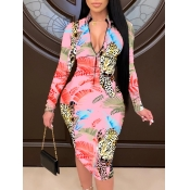 lovely Trendy Print Zipper Design Pink Knee Length Dress