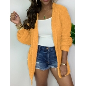 lovely Casual Loose Yellow Coat