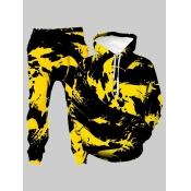 Lovely Trendy Hooded Collar Tie-dye Yellow Men Two-piece Pants Set