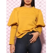 lovely Casual O Neck Puffed Sleeves Yellow Hoodie