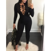 lovely Sexy Bandage Design Black One-piece Jumpsuit