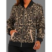 lovely Stylish Mandarin Collar Leopard Print Zippe