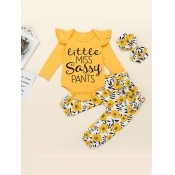 Lovely Casual O Neck Letter Print Yellow Girl Two-